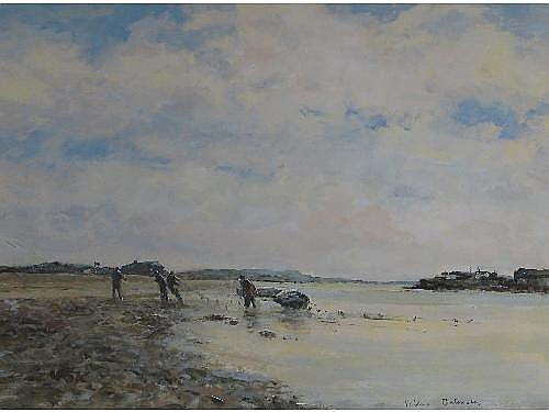 [ Oil Painting ] VALERIE BATCHELOR (20th century): Salmon fishing, Mudeford, signed, acrylic, 31.5 42cm (12.25 x 16.5in)