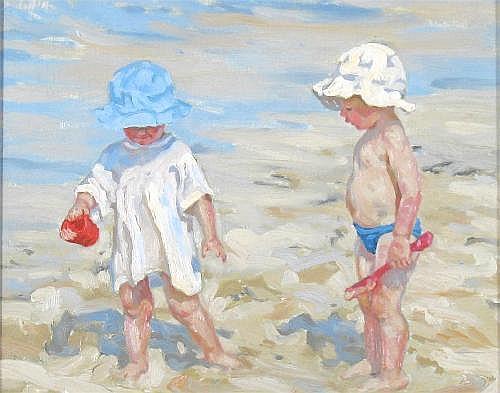 SHEILA TIFFIN (b.1959): Two children on a beach,