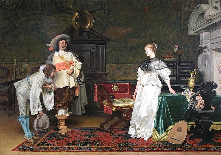 Tito Conti (Italian 1842-1924) The suitor Signed