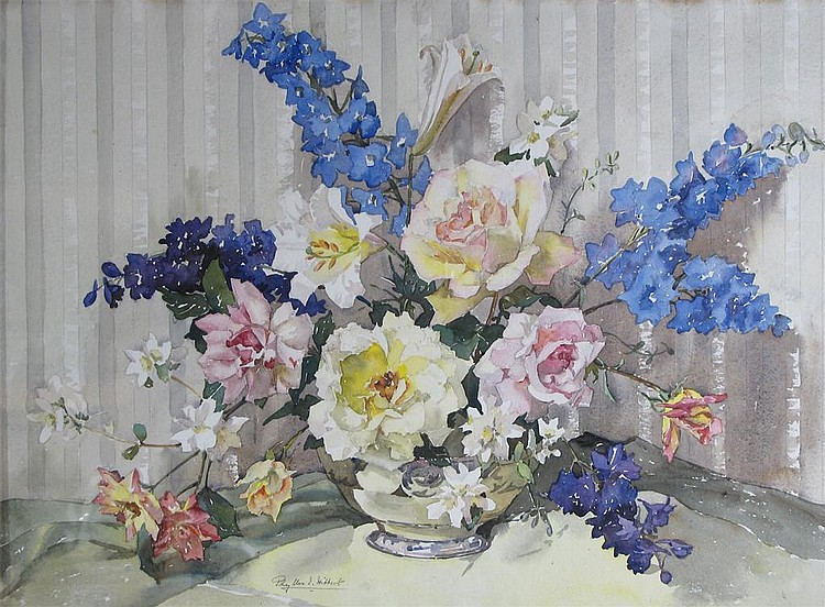 Phyllis I Hibbert (b.1903) Still life of roses and