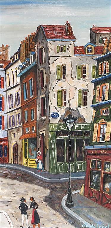 Claude Tabet (1824-1979) Street scene Signed, also