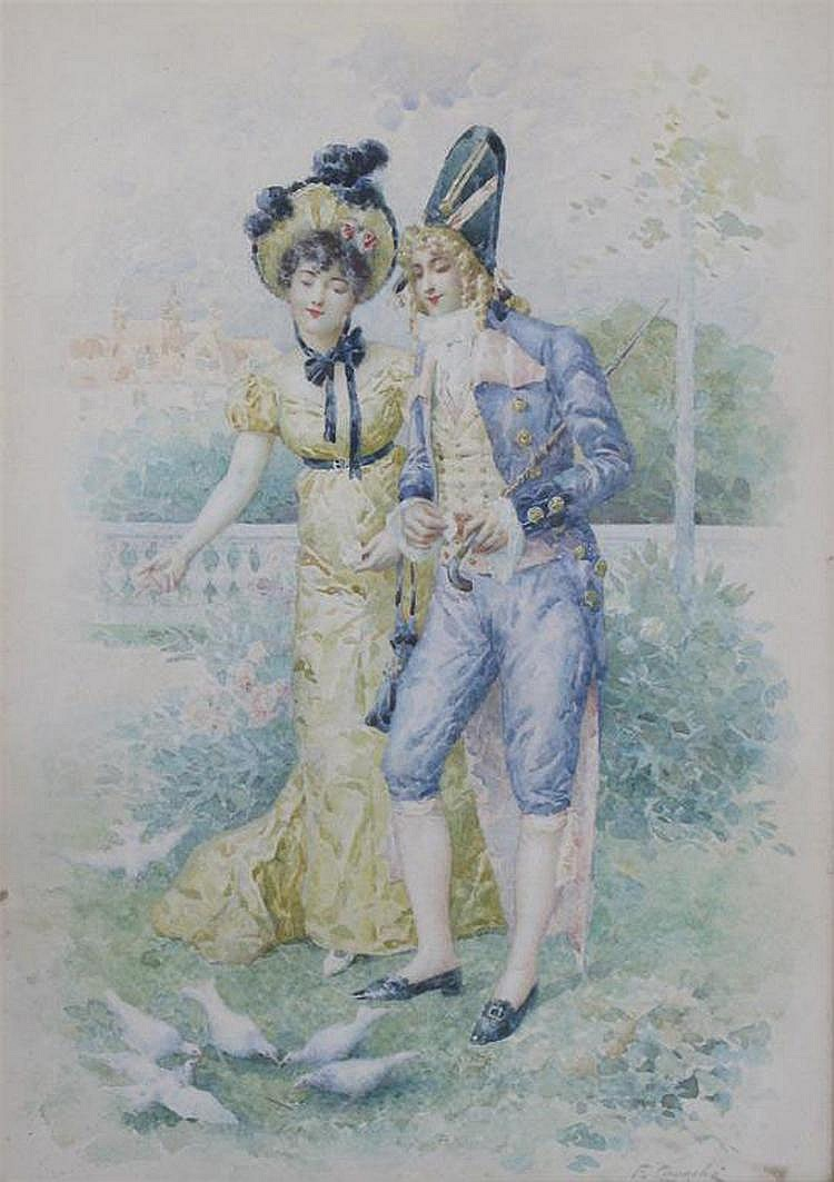 Felix Courche (French b. 1863), A romantic moment