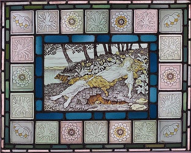 A stained glass panel of by William Glasby
