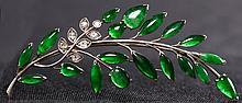 Fine Chinese Apple Green Jade & Diamond Pendant