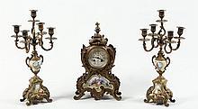 French Gilt-Bronze & Porcelain Clock & Garniture