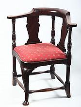Very Fine Queen Anne Mahogany Corner Chair