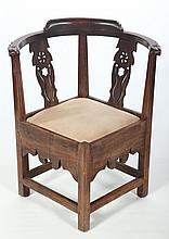 Very Fine Hepplewhite Carved Walnut Corner Chair