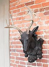 Fine Antique Black Forrest German Stag Mount