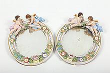 Pair German Figural Porcelain Mirrors