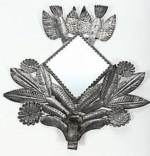 Interesting Folk Art Metal Mirror