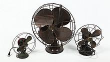 Collection Three Vintage Electric Fans