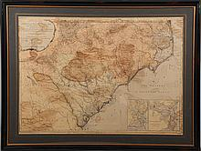 Rare 1967 Mouzon Map of North & South Carolina