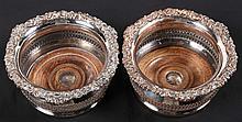 Pair Edwardian Silver Plate Wine Bottle Coasters