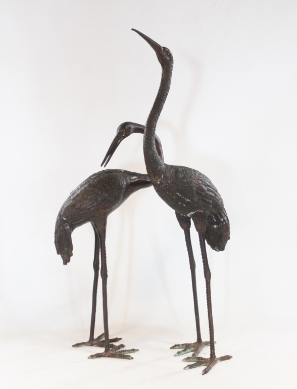 fine pair japanese art deco life size bronze crane. Black Bedroom Furniture Sets. Home Design Ideas