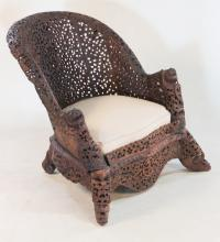 Anglo-Indian Carved Hardwood Easy Chair