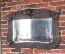 Arts & Crafts Oak Hall Mirror & Coat or Whip Rack