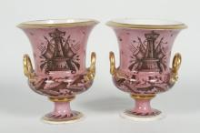 Pair Antique Neoclassical Porcelain Urns
