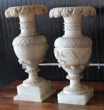 Pair Antique Continental Alabaster Urns