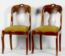 Pair Empire Mahogany Side Chairs