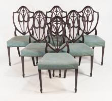 Set Six Hepplewhite Style Dining Chairs