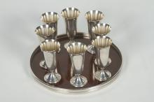 Set American Sterling Cordials on Tray
