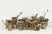 Collection Twenty One Antique Brass Mortars