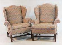 Pair Chippendale Style Wingback Armchairs