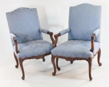 Pair Baker Carved French Style Easy Chairs