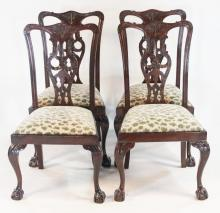 Set Four Chippendale Style Mahogany Side Chairs