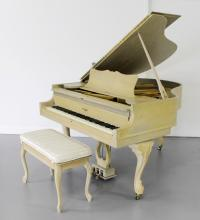 IVORY CASE GRAND PIANO AND BENCH