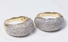 Pair of 14K Gold & Pave Diamond Band Rings