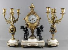 3 PC. FRENCH BRONZE AND MARBLE  CLOCKSET