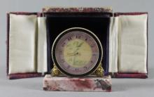 BRONZE TABLE CLOCK ON MARBLE BASE
