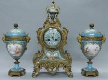 19TH C. PORCELAIN AND BRONZE AND CLOCK AND TWO HANDLED