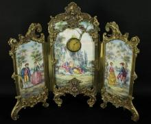 Large Viennese Enamel Screen With Clock