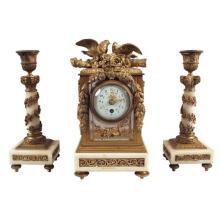 1880s Louis XVI-Style Three Piece Clock Set