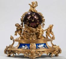 French Gilt-bronze Mantel Clock, 19th century