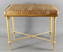 ANTIQUE CUSHIONED AND GILT BENCH