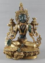 SEATED DORE BRONZE AND STONE CARVED FIGURE OF DEITY