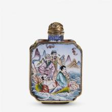 A Late 19th C. Chinese enameled eight immortals snuff
