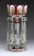 Bohemian Cased Glass Candle Lustre