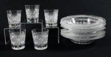 CROSSHATCH AND PUNTE MOTIF CUT GLASS MARKED