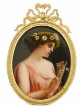 GERMAN PORCELAIN OVAL PLAQUE LATE 19TH-EARLY 20TH