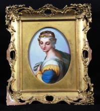 ANTIQUE FRAMED PLAQUE OF WOMAN
