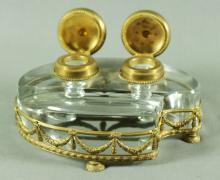 ANTIQUE FRENCH CRYSTAL AND BRASS INKWELL