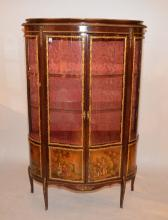 French style Verni Martin vitrine, bowed glass doors