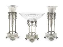 Empire-Style Silverplate and Glass Garniture Set