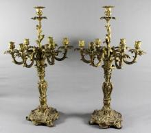 A Pair of Louis XV Style Gilt Bronze Seven-Light
