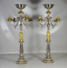 Pair of Monumental Candelabra Centerpieces
