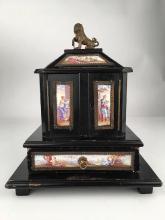 Antique casket box with sixteen porcelain painted
